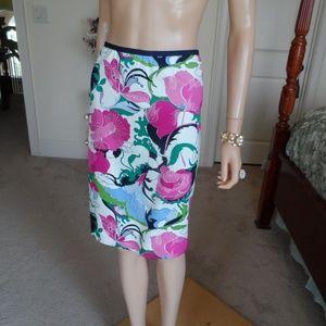 New Talbots White MutliFlowerPrint  Skirt Size 14P